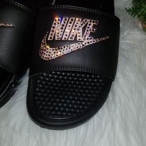 Nike Shoes - New Nike black and rose gold bling Slides